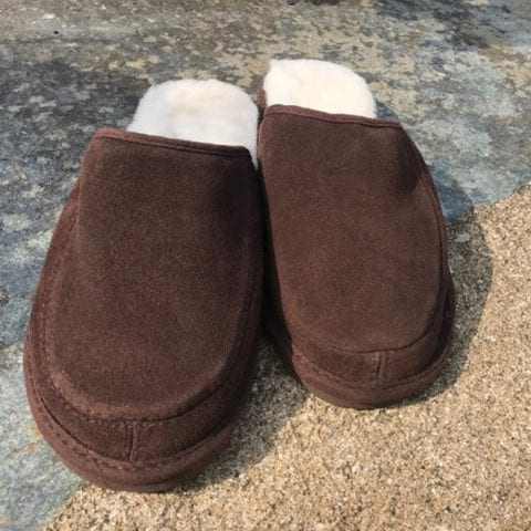 Ladies Suede and Lambswool Mule Slippers with Lightweight EVA Sole-170293