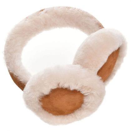 Ladies Luxurious Genuine Suede and Sheepskin Adjustable Earmuffs