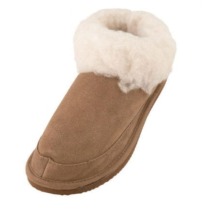 Ladies Genuine Suede and Lambswool Mix Boot Slippers