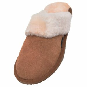 Ladies Sheepskin Lined Mule Slippers with Sheepskin Cuff and EVA Sole