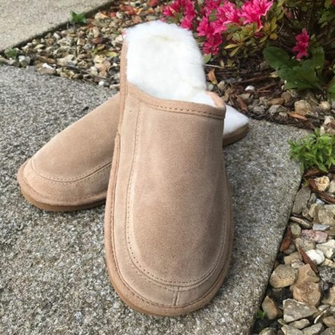 Ladies Suede and Lambswool Mule Slippers with Lightweight EVA Sole-170294