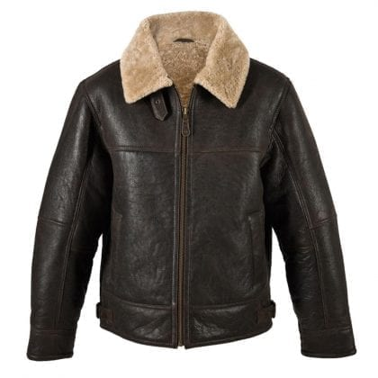 Mens Aviator Finished Sheepskin Jacket with Centre Zip Fastening