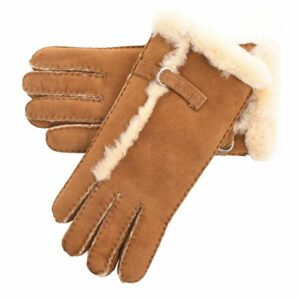 Ladies Genuine Sheepskin Gloves with Buckle Feature and Wool out Trim