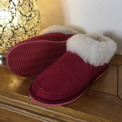 Ladies Genuine Suede and Lambswool Mix Boot Slippers - Crimson