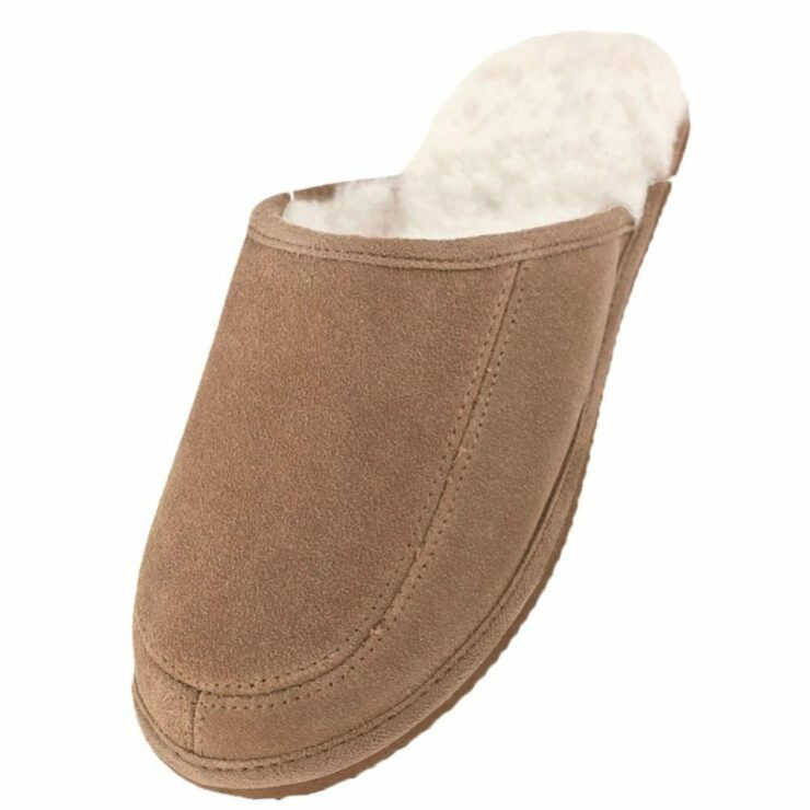 Ladies Suede and Lambswool Mule Slippers with Lightweight EVA Sole in Camel - Size UK4-0