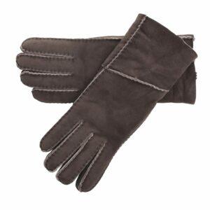Ladies Long Fold Over Quality Genuine Sheepskin Gloves