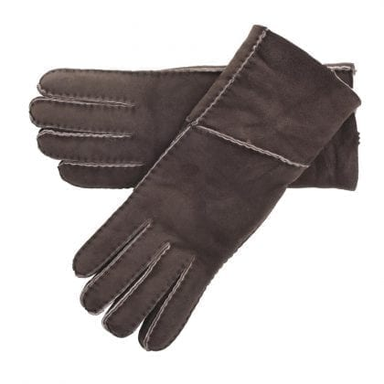 Ladies Long Fold Over Quality Genuine Sheepskin Gloves