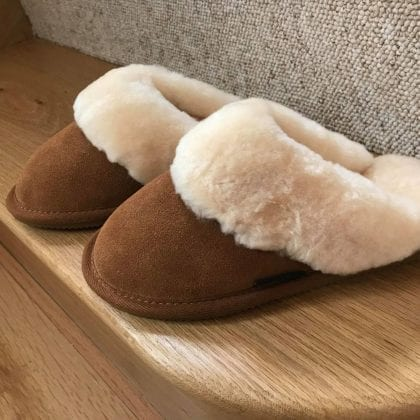 Ladies Sheepskin Lined Mule Slippers with Sheepskin Cuff and EVA Sole - Lifestyle
