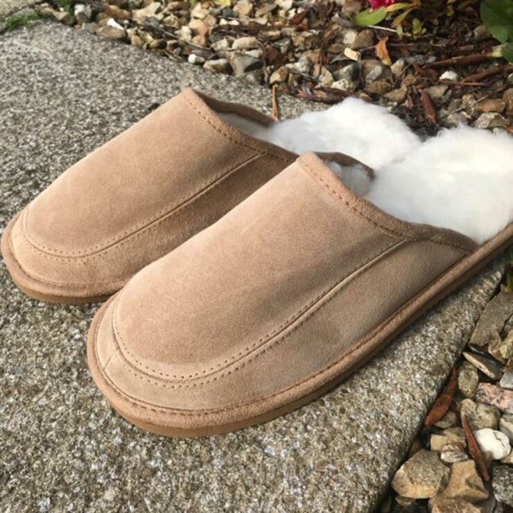 Ladies Suede and Lambswool Mule Slippers with Lightweight EVA Sole-170296