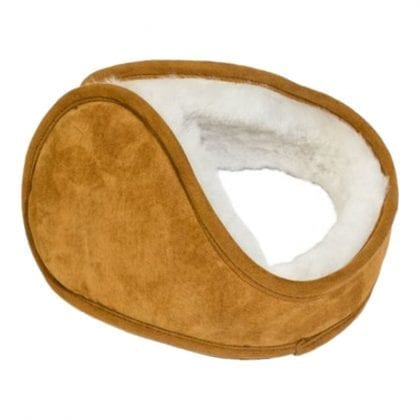 Unisex Genuine Suede and Sheepskin Lined Sprung Earmuffs