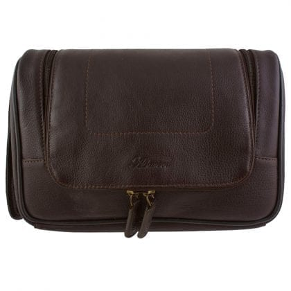 Genuine Leather Zipped Hanging Toiletry Bag by Ashwood