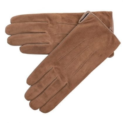 Ladies Premium Grade Leather Gloves with Suede Top - Camel