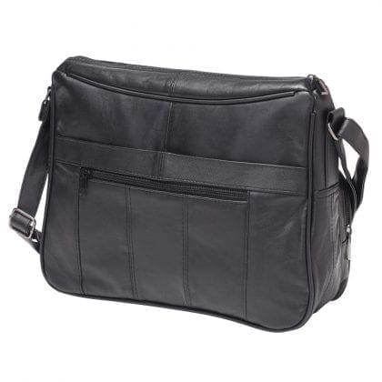 Ladies Soft Genuine Leather Organiser Cross Body Bag - Back