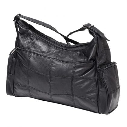 Ladies Large Soft Genuine Leather Twin Zipped Bag - Back