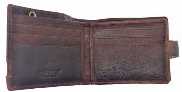 Mens Hand Finished Genuine Buffalo Leather Wallet by Rowallan - Open 2