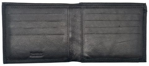 Mens Smooth Leather Hand Finished Card Wallet with Rear Coin Holder by Rowallan - Open
