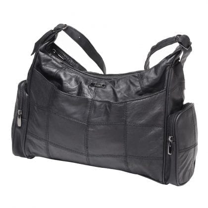 Ladies Large Soft Genuine Leather Twin Zipped Bag - Front