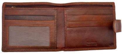 Mens Hand Finished Genuine Leather Wallet with Zipped Note Compartment by Rowallan-8974