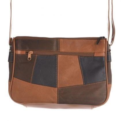 Ladies Soft Genuine Leather Twin Zipped Patch Handbag - Rear