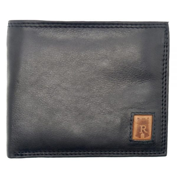 Mens Smooth Leather Hand Finished Card Wallet with Flap Over ID Window by Rowallan - Front
