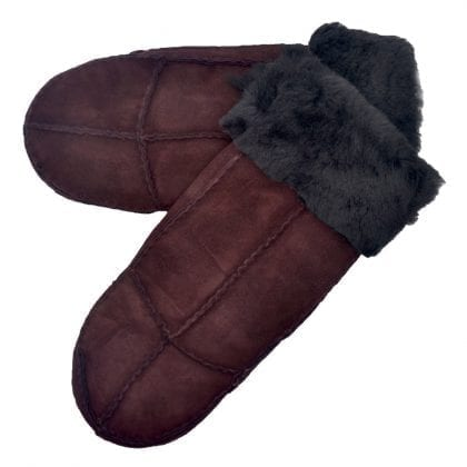 Ladies Genuine Sheepskin Panel Mittens with Roll up - Roll Down Cuff