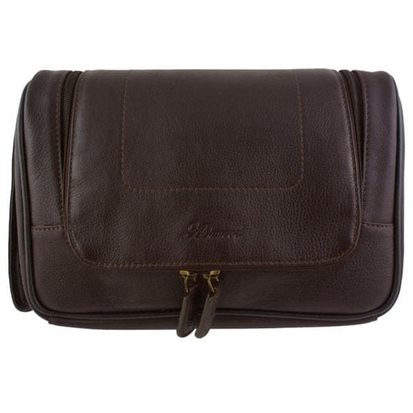 Genuine Leather Zipped Hanging Toiletry Bag by Ashwood in Brown