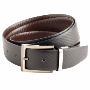"""Arnicus Mens 30mm - 1.25"""" High Quality Leather Carbon Fiber Style Reversible Belt"""