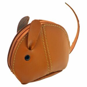 Small Genuine Leather Zipped Mouse Purse