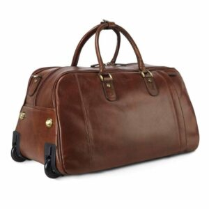 Genuine Leather Large Wheeled Travel Bag