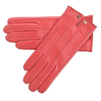 Ladies Simple Style Genuine Leather Gloves with Popper Fastening