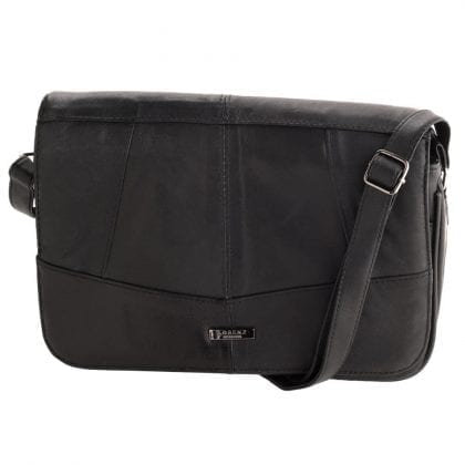 Ladies Triple Zipped Leather Cross Body Handbag