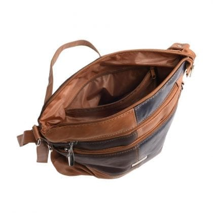Ladies Soft Genuine Leather Patch Handbag - Open