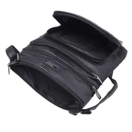 Ladies Genuine Leather Bag with Front Pocket - Open