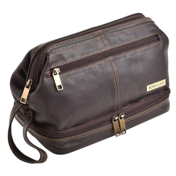Wide Opening Quality Leather Wash - Toiletry Bag by Rowallan - Front