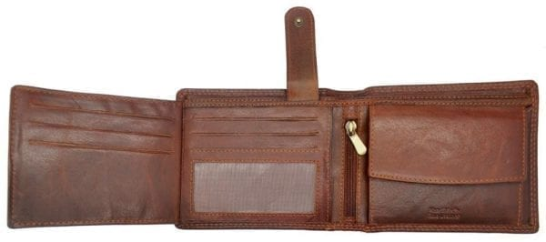 Mens Hand Finished Genuine Buffalo Leather Organiser Wallet by Rowallan - Inside 3