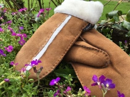 Ladies Genuine Sheepskin Mittens with Wool Out Trim - Lifestyle