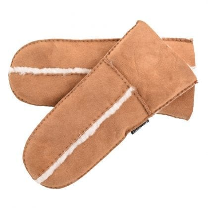 Ladies Genuine Sheepskin Mittens with Wool Out Trim