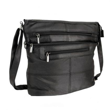 Ladies Medium Size Multi Zip Cross Body Handbag-0