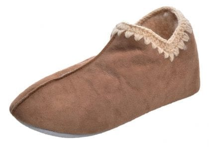 Ladies Full Sheepskin Boot Slippers with Crochet Stitch By Shepherd of Sweden-Profile