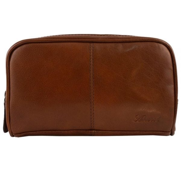 High Quality Genuine Leather Wash - Shaving - Toiletry Bag by Ashwood in Chestnut