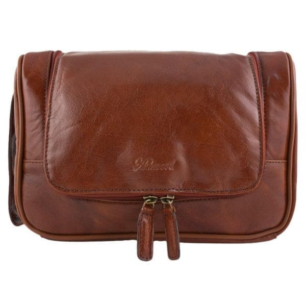 Genuine Leather Zipped Hanging Toiletry Bag by Ashwood in Chestnut