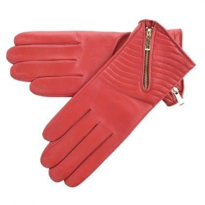 Ladies Genuine Leather Biker Style Gloves with Zip Detail