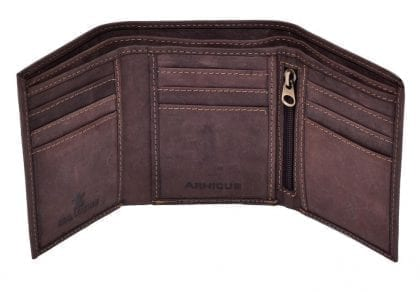 Arnicus Mens Small Distressed Genuine Leather Trifold Wallet-82395