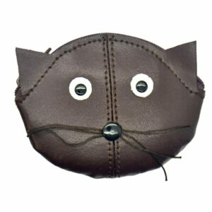 Small Genuine Leather Cat Face Zipped Purse