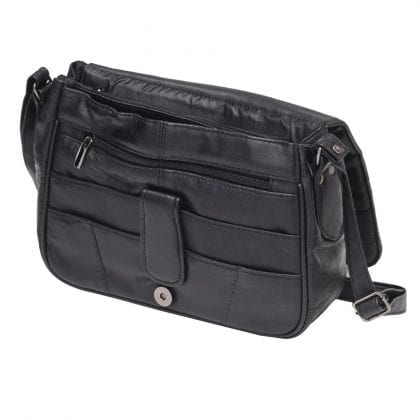 Ladies Small Soft Genuine Leather Organiser Bag - Flap Open