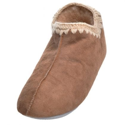 Ladies Full Sheepskin Boot Slippers with Crochet Stitch By Shepherd of Sweden