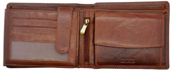 Mens Hand Finished Genuine Buffalo Leather Organiser Wallet by Rowallan - Inside