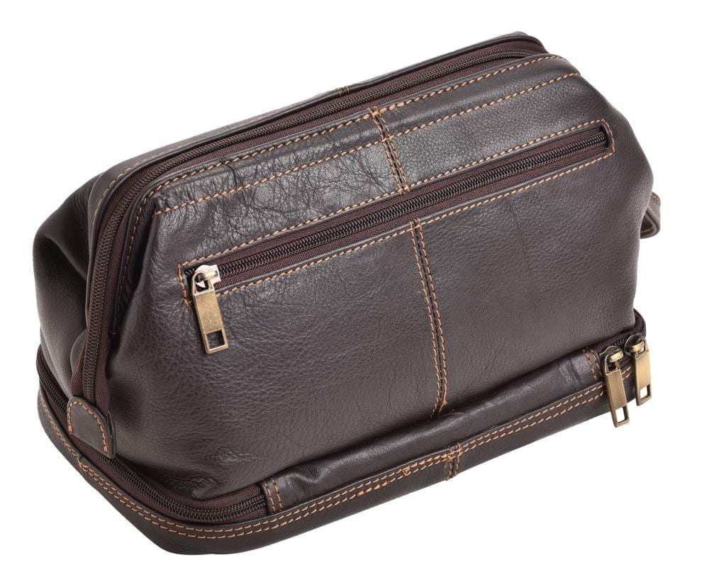 Wide Opening Quality Leather Wash - Toiletry Bag by Rowallan