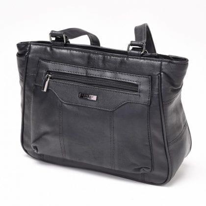 Ladies Soft Genuine Leather Dual Handle Shoulder Bag - Open