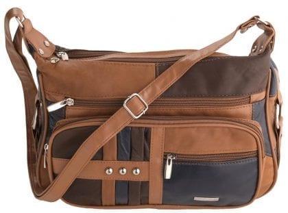 Ladies Soft Genuine Leather Twin Zipped Cross Body Handbag